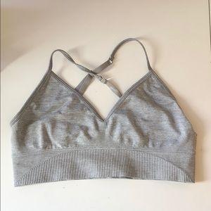 Heather gray sports bra